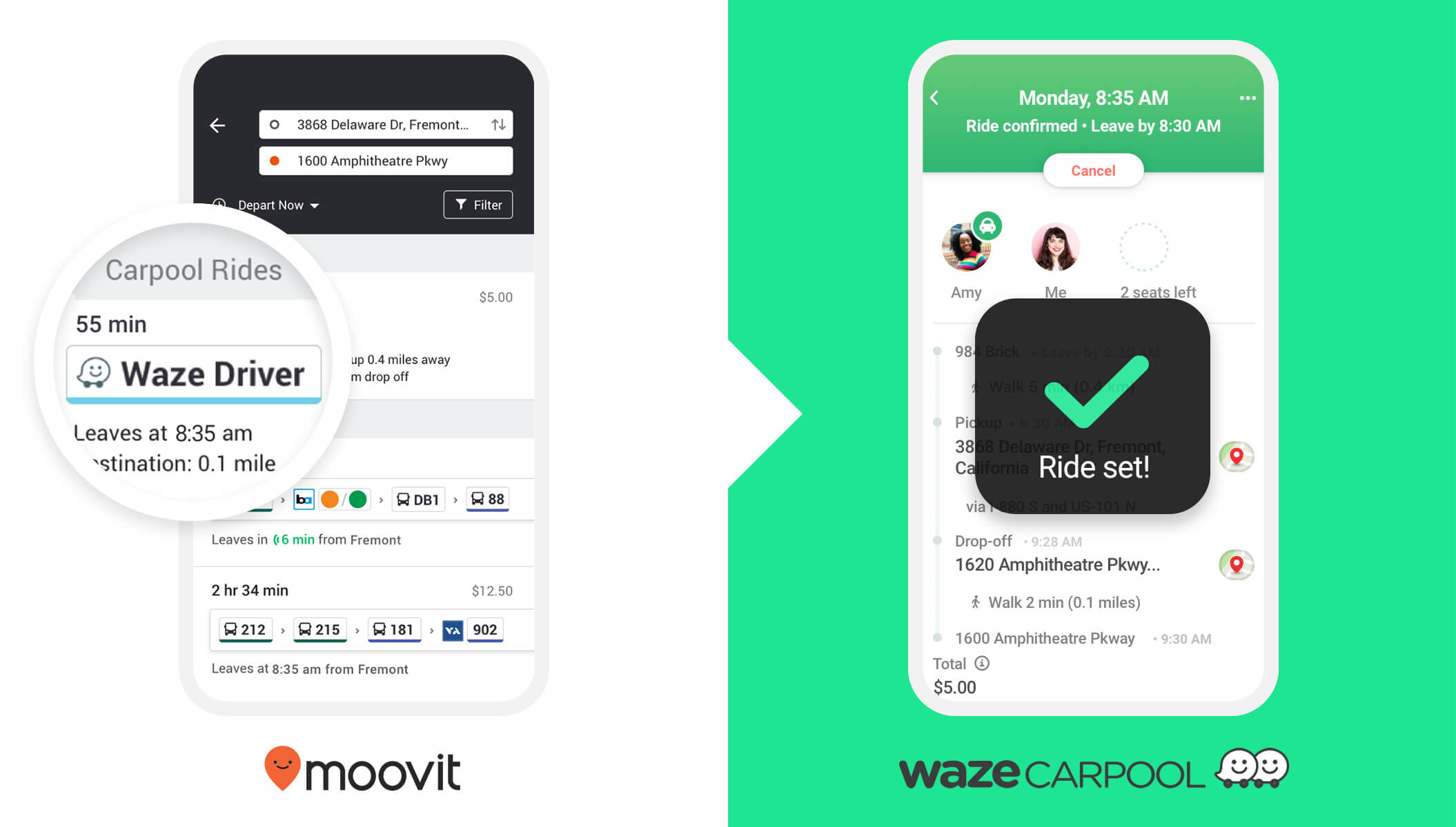 Moovit and Waze Carpool Partnership
